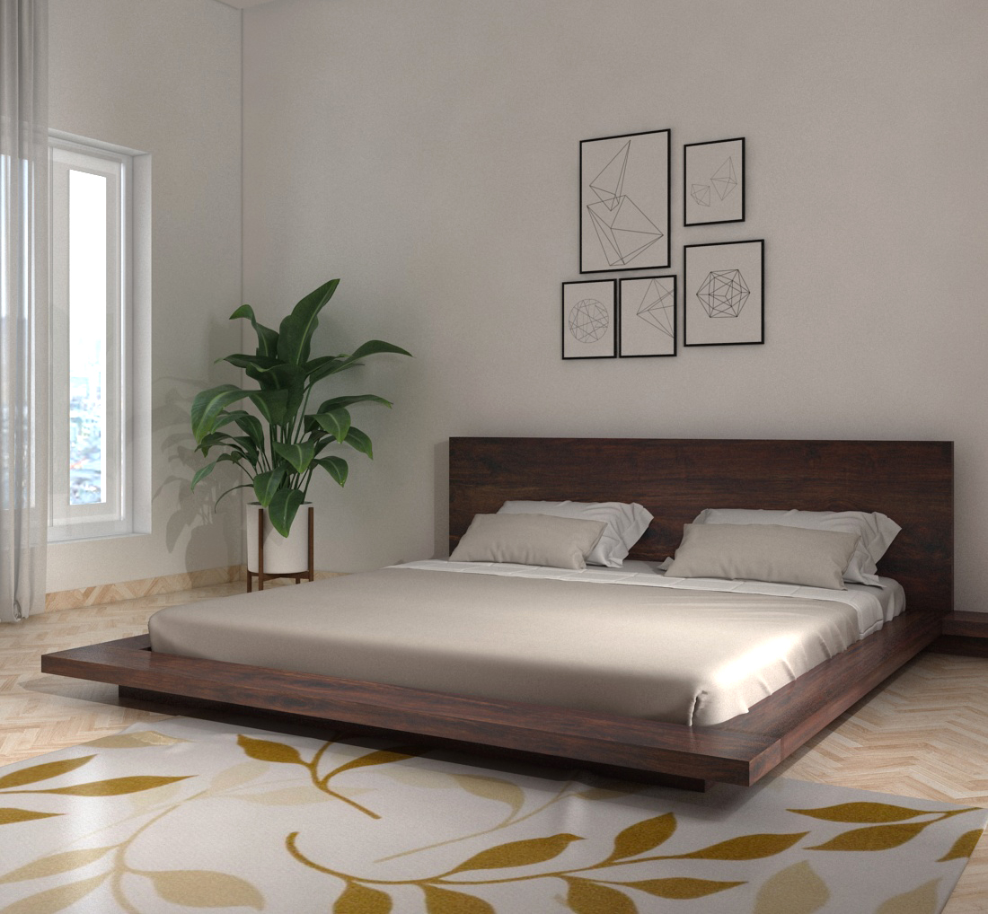 Solid Wood Double Bed/Platform Bed