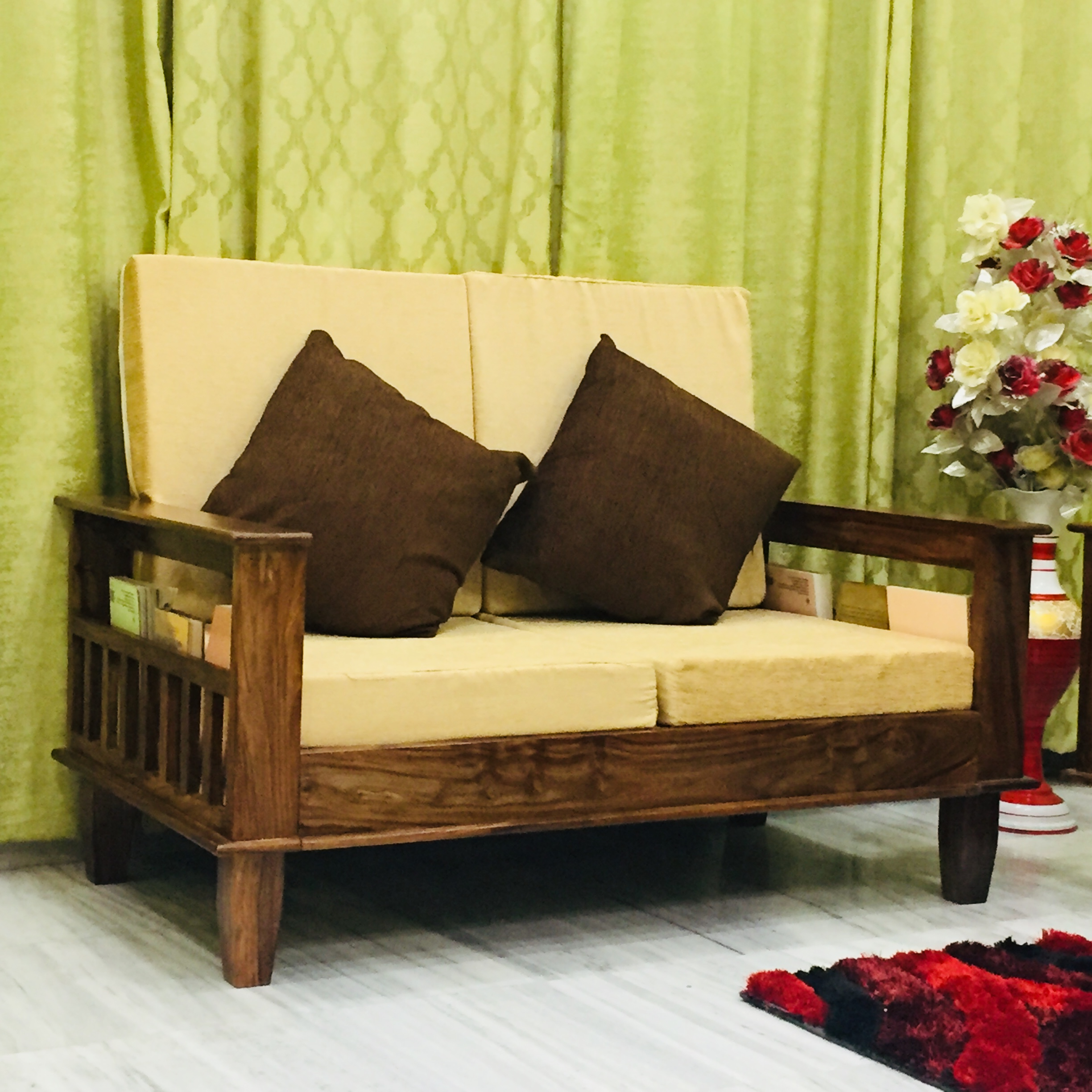 Maharaja Two Seater Sofa in Solid Sheesham Wood - Online ...