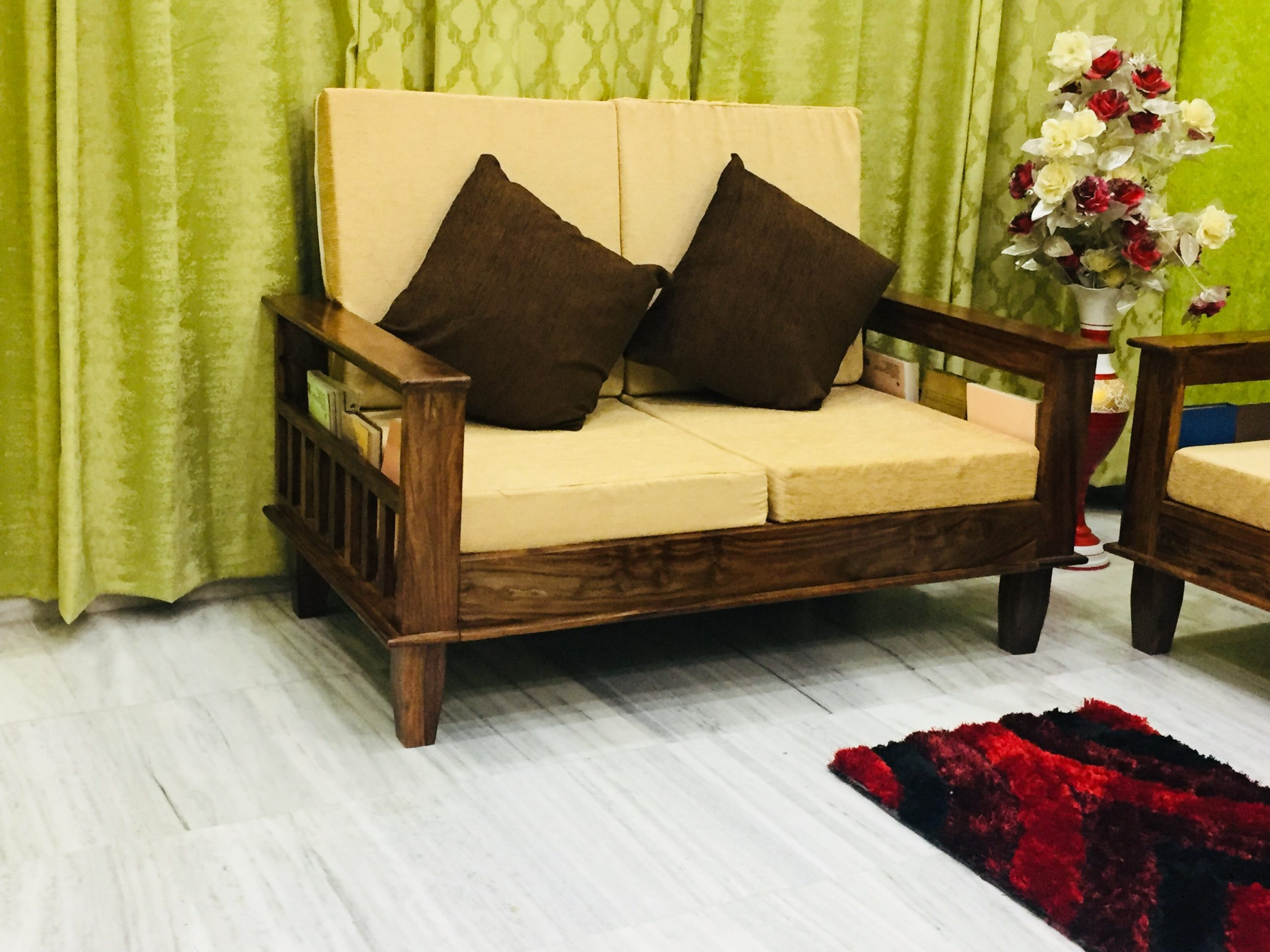 Maharaja Five Seater Sofa Set 3+2 in Solid Sheesham Wood ...