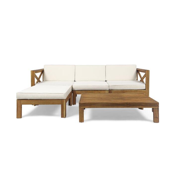 Corbin Four Seater L-Shaped Sofa Set in Solid Sheesham ...