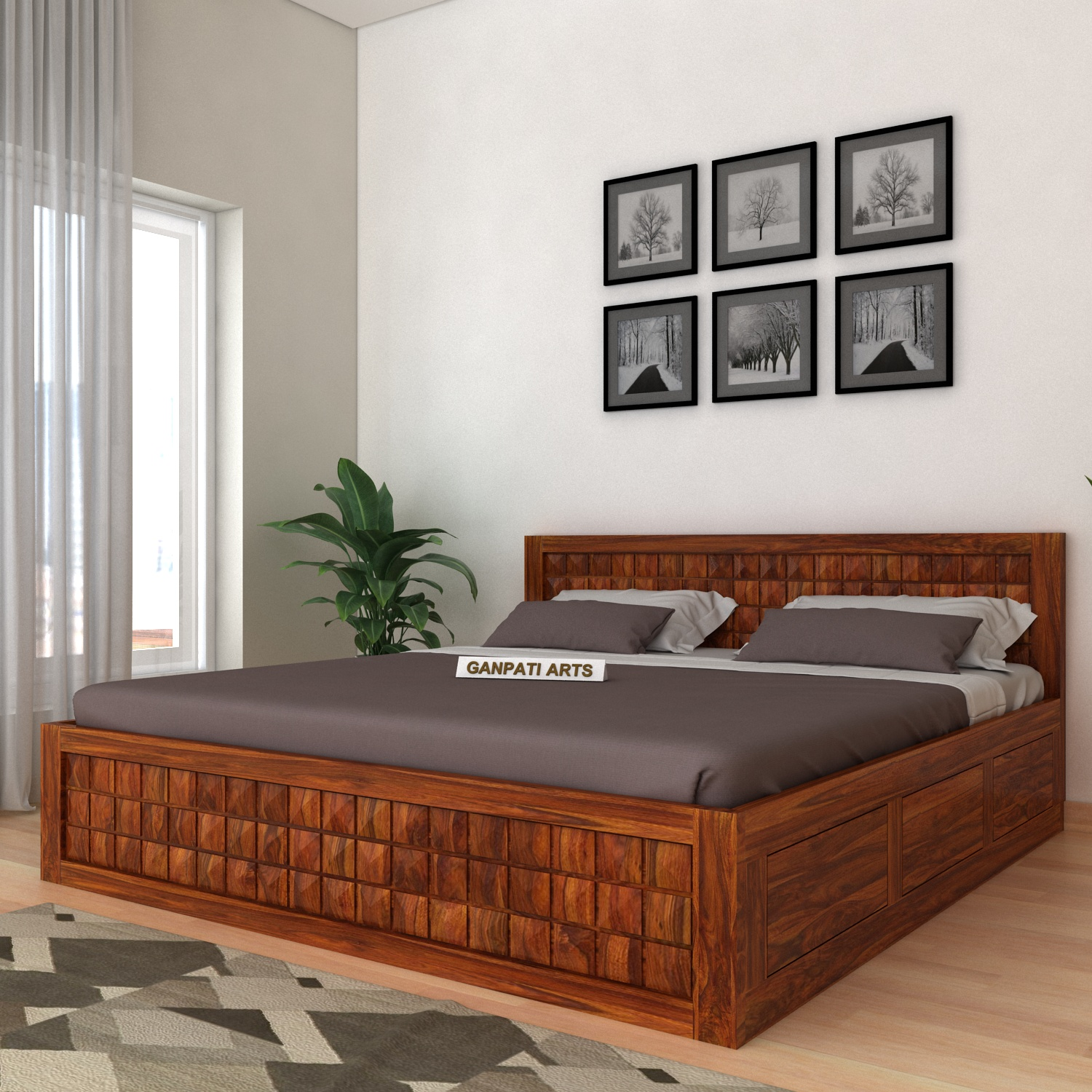 Sheesham Wood Box Bed / King Size Bed & Queen Size Bed